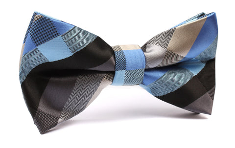 Black Grey Silver Blue Pattern Bow Tie