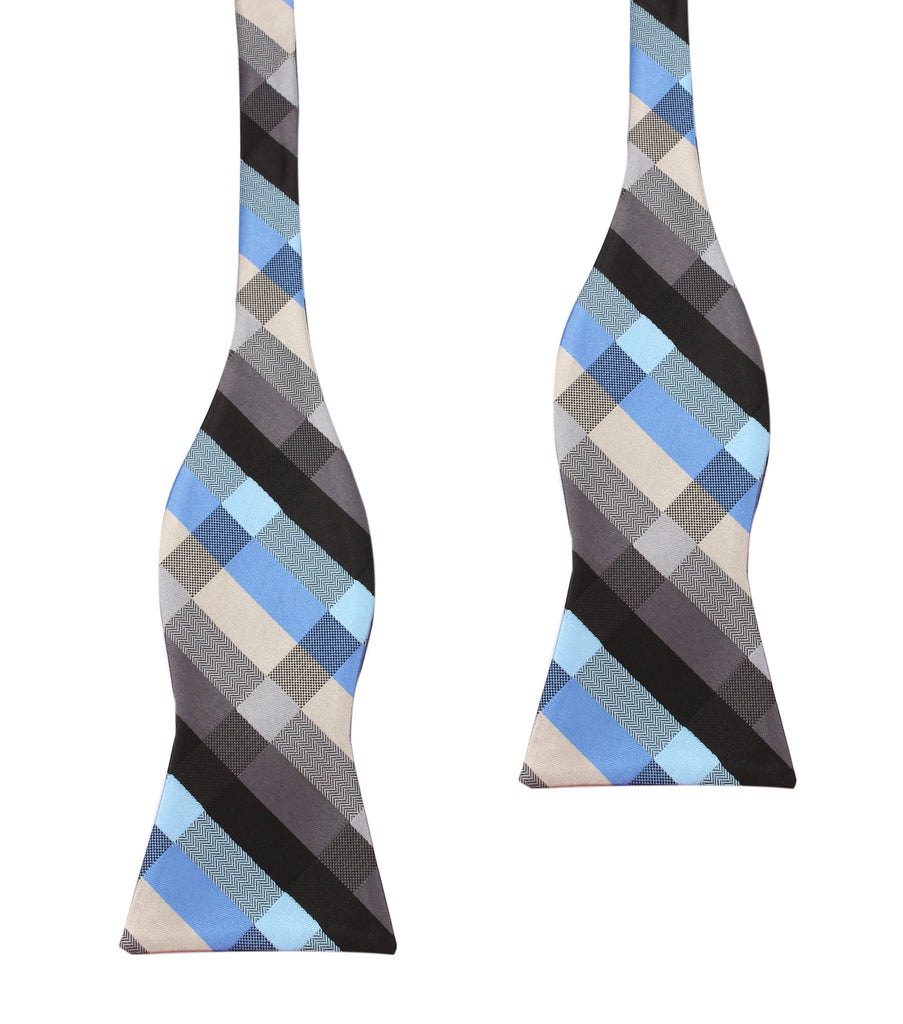 Black Grey Silver Blue Pattern Bow Tie Untied