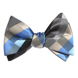 Black Grey Silver Blue Pattern Bow Tie Untied Self tied knot by OTAA