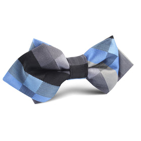 Black Grey Silver Blue Pattern Diamond Bow Tie
