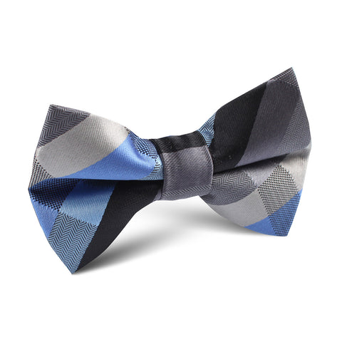 Black Grey Silver Blue Pattern Kids Bow Tie
