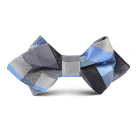 Black Grey Silver Blue Pattern Kids Diamond Bow Tie