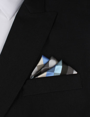 Black Grey Silver Blue Pattern Pocket Square