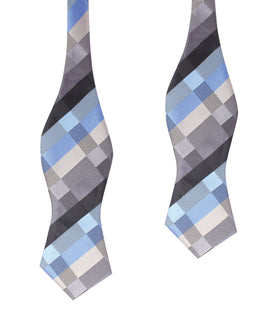 Black Grey Silver Blue Pattern Self Tie Diamond Tip Bow Tie
