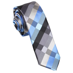 Black Grey Silver Blue Pattern Skinny Tie