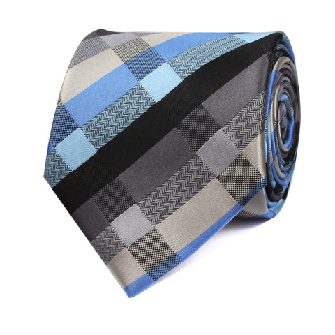 Black Grey Silver Blue Pattern Tie