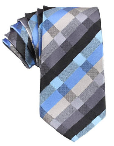 Black Grey Silver Blue Pattern Necktie