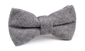 Black Herringbone Linen Bow Tie