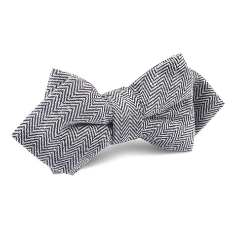 Black Herringbone Linen Diamond Bow Tie