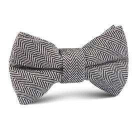 Black Herringbone Linen Kids Bow Tie
