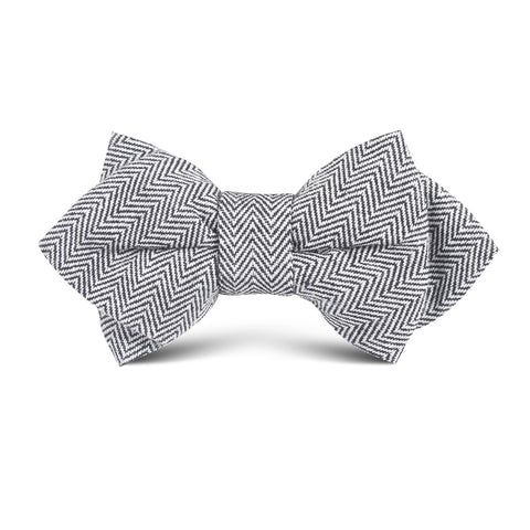 Black Herringbone Linen Kids Diamond Bow Tie