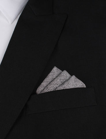 Black Herringbone Linen Pocket Square