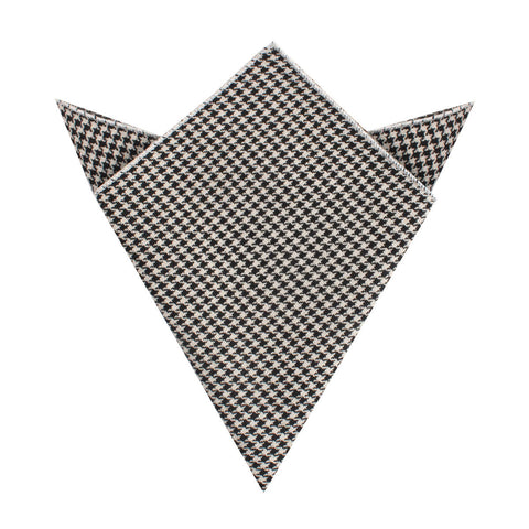 Black Houndstooth Spider Linen Pocket Square