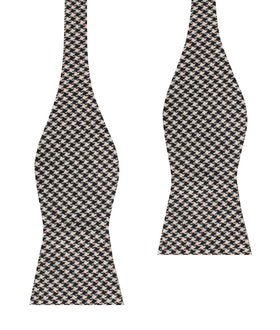 Black Houndstooth Spider Linen Self Bow Tie