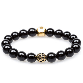 Black Ice Onyx Gold Skull Bracelet