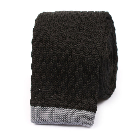 Black Knitted Tie with Grey Flat End