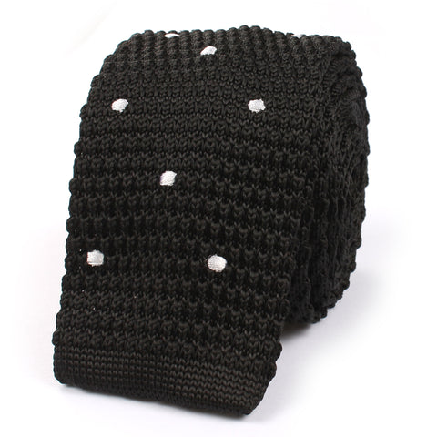 Black Knitted Tie with White Polka Dots