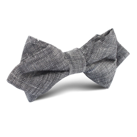 Black Linen Chambray Diamond Bow Tie