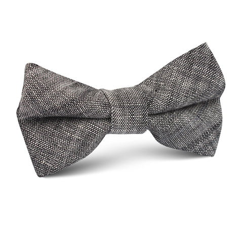 Black Linen Chambray Kids Bow Tie
