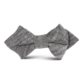 Black Linen Chambray Kids Diamond Bow Tie