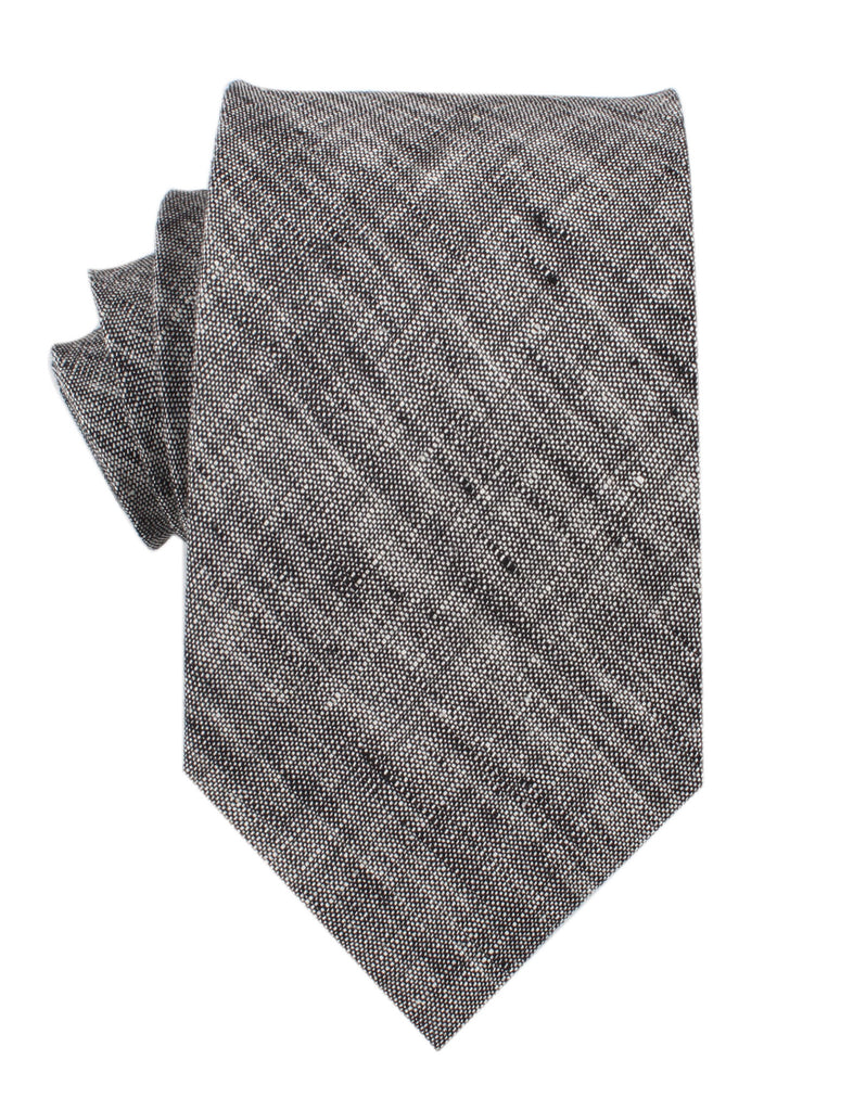 Black Linen Chambray Necktie