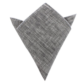 Black Linen Chambray Pocket Square
