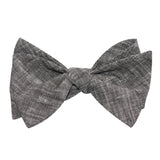 Black Linen Chambray Self Tie Bow Tie 1