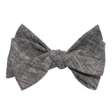 Black Linen Chambray Self Tie Bow Tie 2
