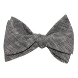 Black Linen Chambray Self Tie Bow Tie 3