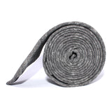 Black Tweed Linen Stitching Skinny Tie Side roll