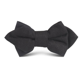 Black Linen Kids Diamond Bow Tie