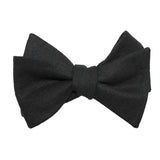 Black Linen Self Tie Bow Tie 1