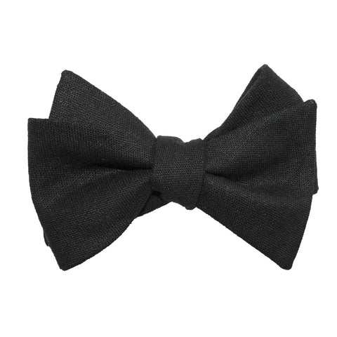 Black Linen Self Tie Bow Tie