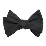 Black Linen Self Tie Bow Tie 2