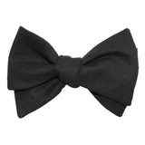 Black Linen Self Tie Bow Tie 3