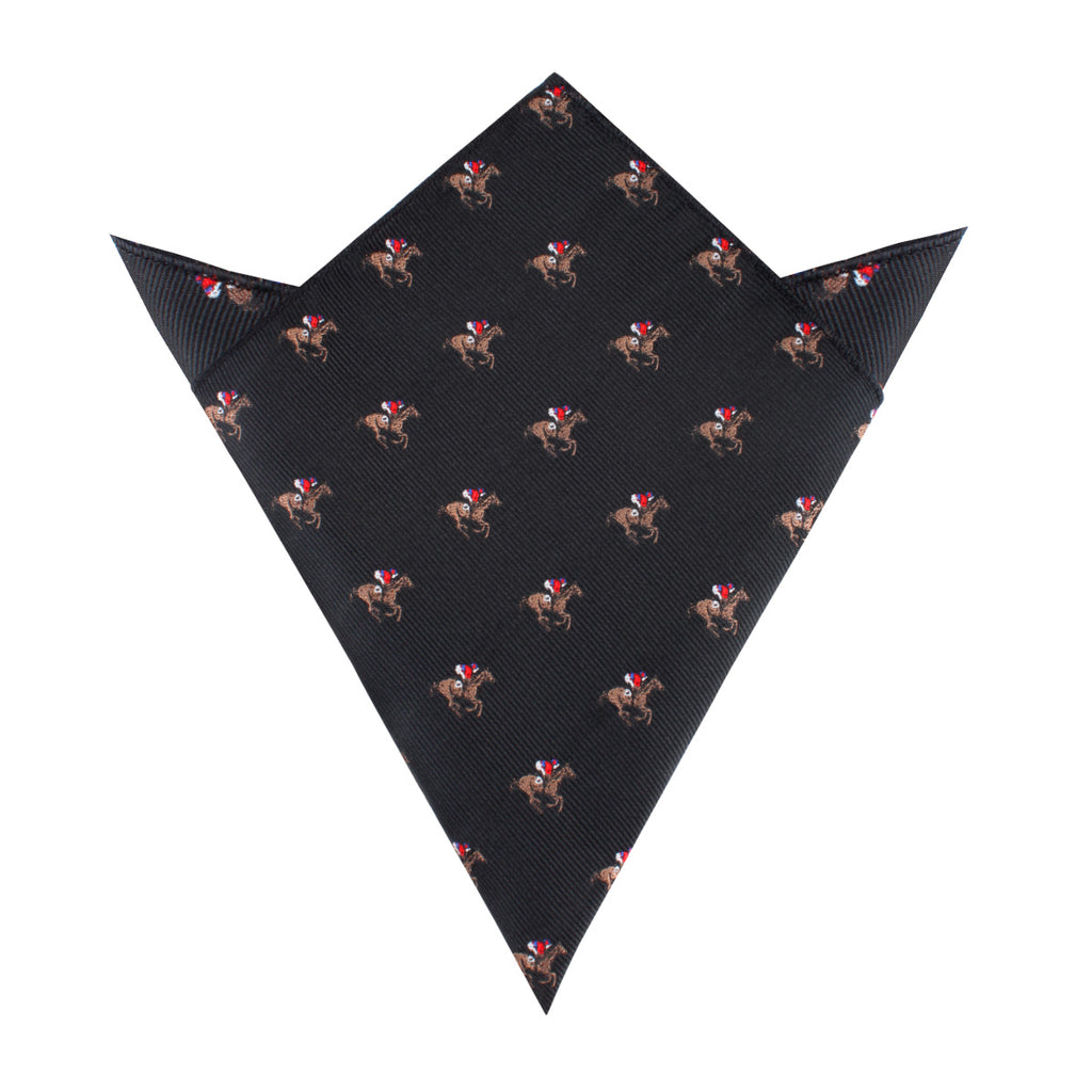 Black Melbourne Race Horse Pocket Square