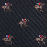 Black Melbourne Race Horse Pocket Square Fabric