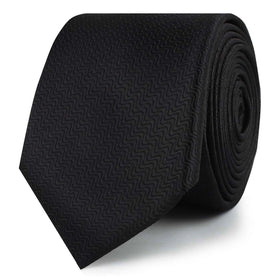 Black Midnight Rippling Sand Skinny Tie