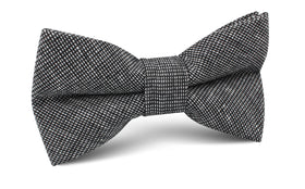 Black Needle Stitch Linen Bow Tie