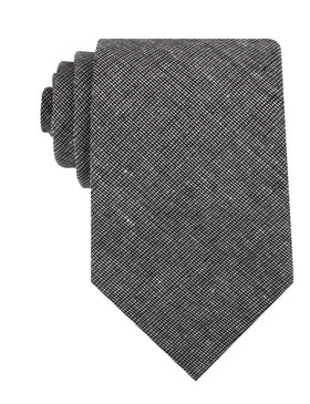Black Needle Stitch Linen Necktie