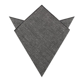 Black Needle Stitch Linen Pocket Square