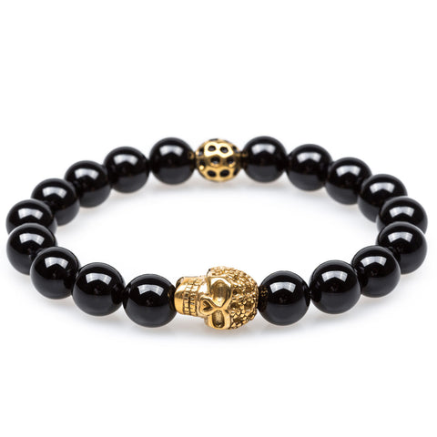 Black Onyx Gold Pirate Skull Bracelet