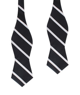 Black Pencil Stripe Diamond Self Bow Tie