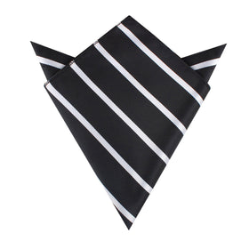 Black Pencil Stripe Pocket Square