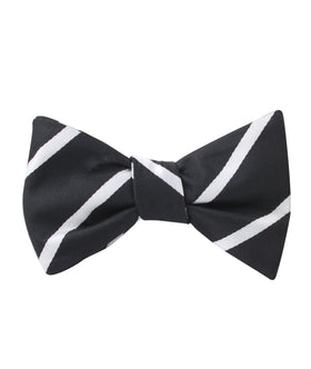 Black Pencil Stripe Self Bow Tie