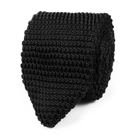 Black Pointed Knitted Tie