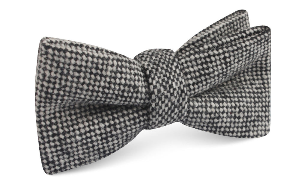 Black Porcupine English Wool Bow Tie
