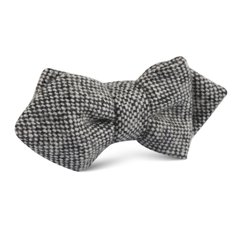Black Porcupine English Wool Diamond Bow Tie