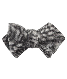 Black Porcupine English Wool Diamond Self Bow Tie
