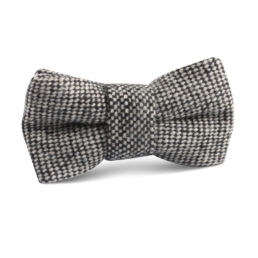 Black Porcupine English Wool Kids Bow Tie